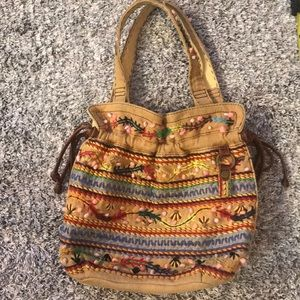 [Lucky Brand] Boho Embroidered Tribal Tote